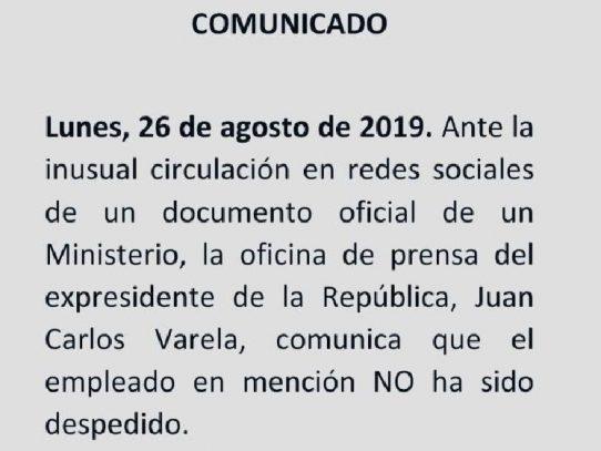 Expresidente Varela desmiente supuesto despido injustificado de uno de sus colaboradores