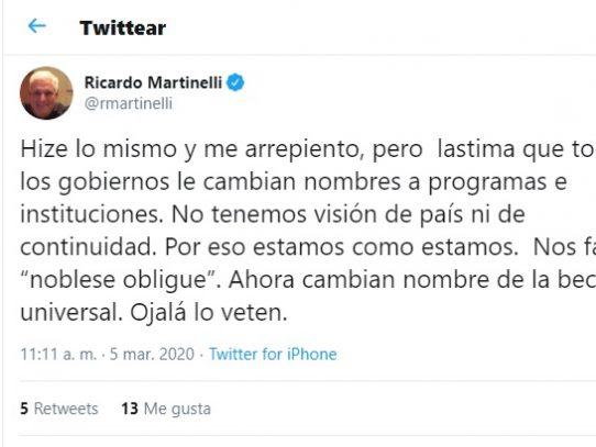 """Martinelli rechaza cambio de nombre de la Beca Universal, """"ojalá lo veten"""", expresó"""