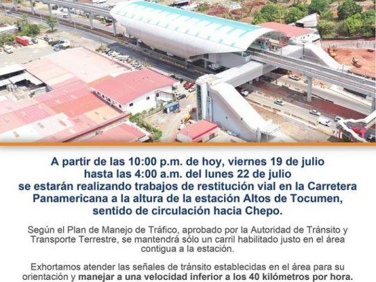 Un solo carril a partir de esta noche hasta el lunes por trabajos del Metro en Altos de Tocumen