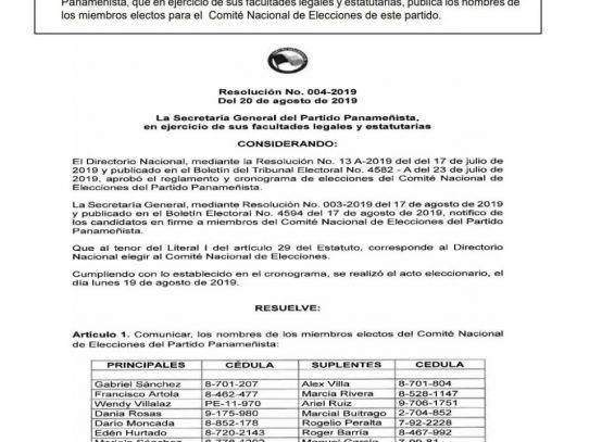 Publican nombres del nuevo CNE del Panameñista