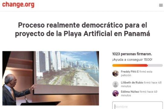 Lanzan petición en línea para rechazar método de consulta sobre playa artificial