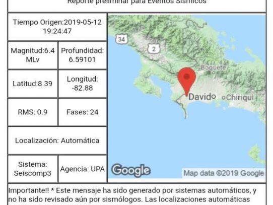 Se reporta temblor de 6.5Mw en Puerto Armuelles