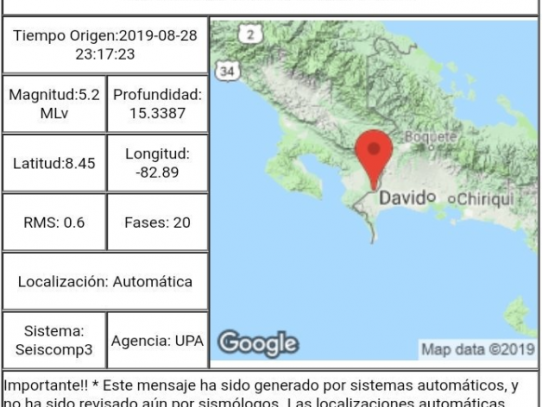 Se registra temblor de 5.2 en la provincia de Chiriquí, según Geociencias