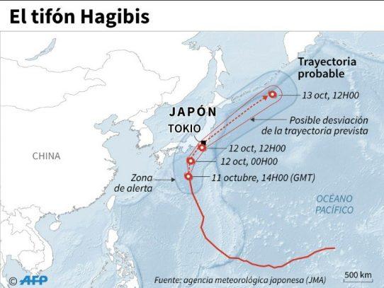 Japón en alerta máxima por azote del tifón Hagibis