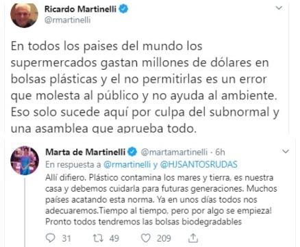 Ricardo Martinelli tuitea contra eliminación de bolsas plásticas, su esposa lo contradice