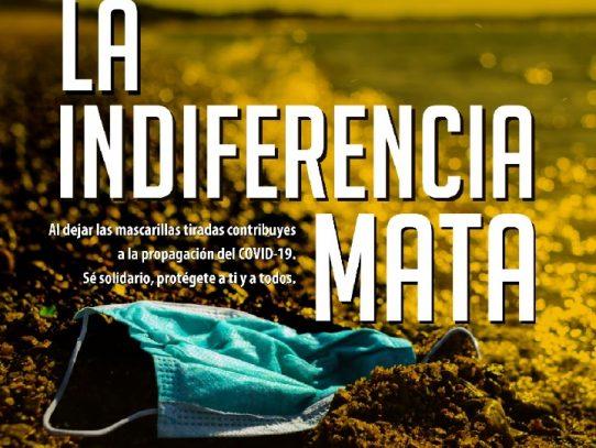 """Campaña """"La Indiferencia Mata: Deposita correctamente las mascarillas"""", busca frenar la contamianción"""